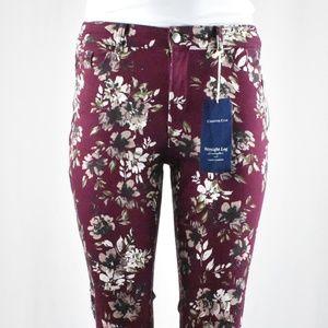 !!~ Plum Floral Print Straight Leg Denim Pants ~!!